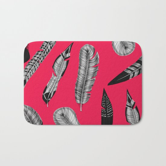 Seamless pattern with various hand drawn feathers on red background. Bath Mat