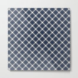 Navy Blue, White, and Black Diagonal Plaid Pattern Metal Print