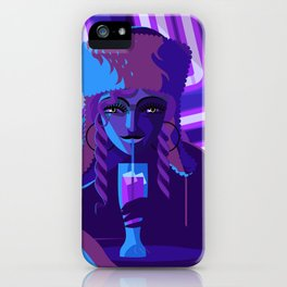 purple neon pub girl with beer iPhone Case