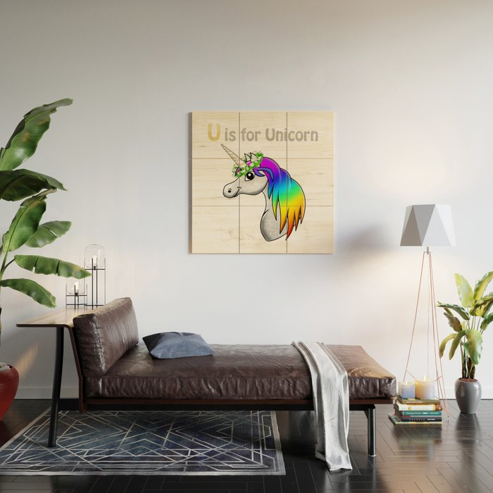 U is for Unicorn Wood Wall Art