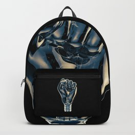 Protest fist light bulb / 3D render of glass light bulb in the form of clenched fist Backpack