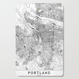 Portland White Map Cutting Board