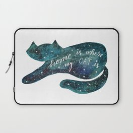 Watercolor galaxy cat – turquoise Laptop Sleeve