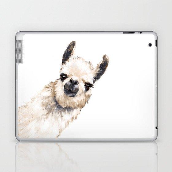 Sneaky Llama White Laptop & iPad Skin