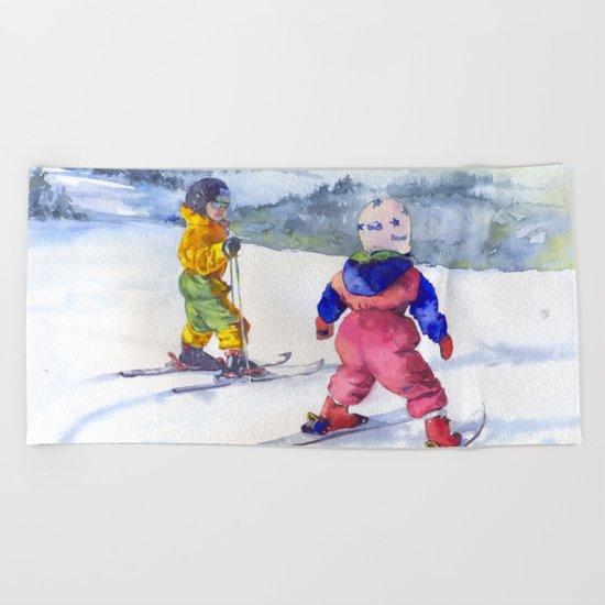 Watercolor skiing, skiers kids Beach Towel