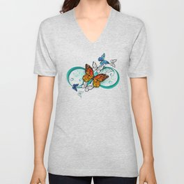 Infinity with an Orange Butterfly Unisex V-Neck