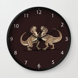 Two dinosaurs fighting each other illustration Wall Clock