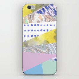 Modern geometrical pink navy blue yellow watercolor marble iPhone Skin