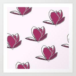 Magnolia Seamless Pattern Art Print