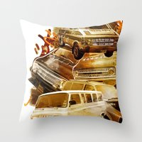 vans Throw Pillows featuring URBAN VANS by les83machines