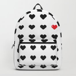 Digital 8-Bit Hearts Pattern Backpack