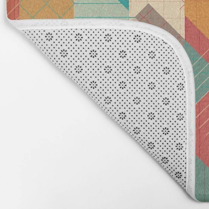 Geometric Geek Pattern - Squares, Stripes, Grids Bath Mat