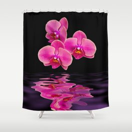 Mystical Pink Orchids Reflections Shower Curtain