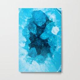 Blue Geode Crystal Metal Print