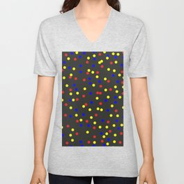 Primary Scatter - Abstract red, yellow and blue polka dots Unisex V-Neck