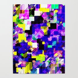 geometric square pixel pattern abstract in blue yellow pink Poster