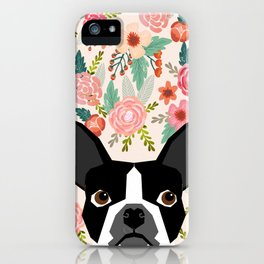 Boston Terrier floral dog head cute pet portrait gifts for boston terriers must haves iPhone Case