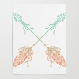 Arrows Turquoise Coral on White Poster