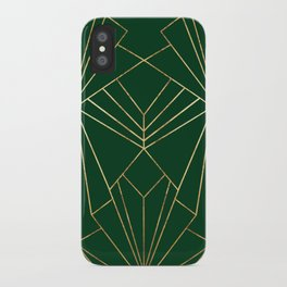 Art Deco in Gold & Green - Large Scale iPhone Case