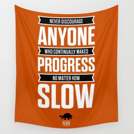 Lab No. 4 Never Discourage Anyone Plato Inspirational Quote Wall Tapestry