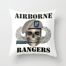 Airborne Rangers - Skull With Ranger Beret in front of Jump Wings Throw Pillow
