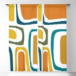 Palm Springs Midcentury Modern Abstract in Moroccan Teal, Orange, Mustard, Olive, and White Blackout Curtain