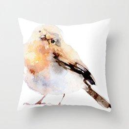 Watercolor Bird Painting Throw Pillow