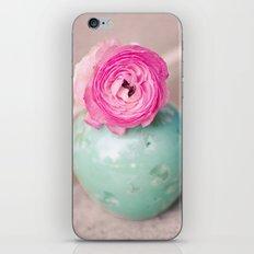 Hot pink ranunculus flowers mint green vintage 1 iPhone & iPod Skin