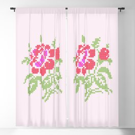 Embroidered red rose Blackout Curtain