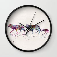wolves Wall Clocks featuring Wolves by Watercolorist