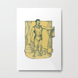 Strongman Lifting Weight Drawing  Metal Print