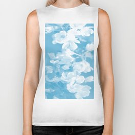 Spring Atmosphere White Flowers Sky Blue Background #decor #society6 #homedecor Biker Tank