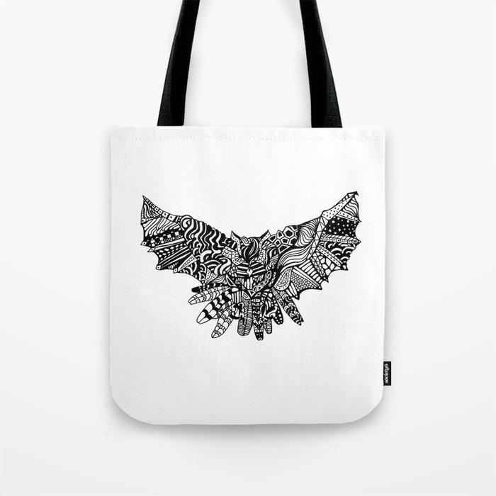 Dragon Owl (BW) Tote Bag