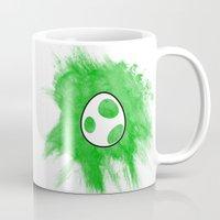 yoshi Mugs featuring Yoshi Egg by Bradley Bailey