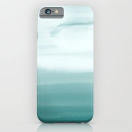 Ocean Sky // Surf Waves Teal Blue Green Water Clouds Watercolor Painting Beach Bathroom Decor iPhone Case