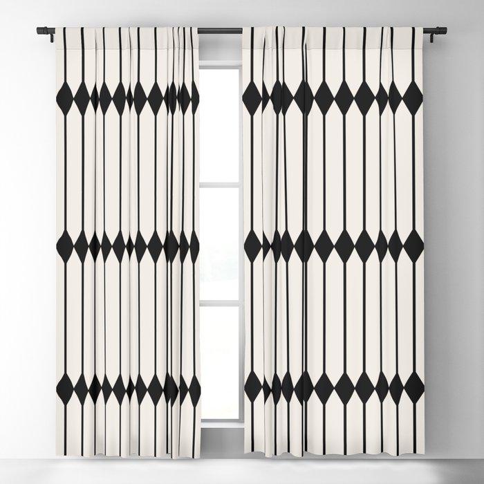 Minimal Geometric Pattern - Black and White Blackout Curtain