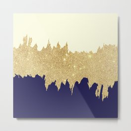 Navy blue ivory faux gold glitter brushstrokes Metal Print