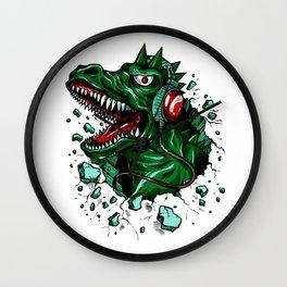 Dino with Headphones Green British Racing Wall Clock