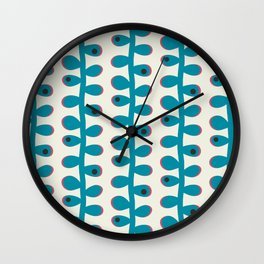 Blue Leaves Plant Wall Clock