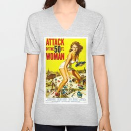 Attack of the 50 Foot Woman, 1958 (Enhanced Colors) Unisex V-Neck
