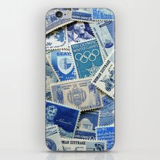 Vintage Postage Stamp Collection - 02 (Blues) iPhone & iPod Skin
