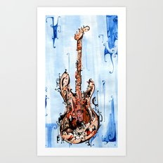 red on blue guitar Art Print