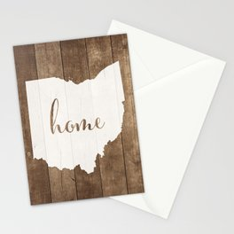 Ohio is Home - White on Wood Stationery Cards