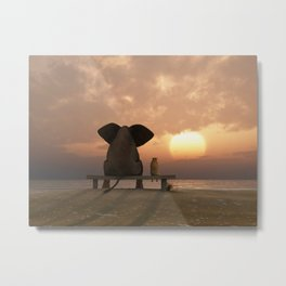 Elephant and Dog Friends Metal Print