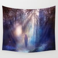 the lights Wall Tapestries featuring Path lights by Viviana Gonzalez
