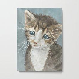 Kitten, watercolor potrait Metal Print