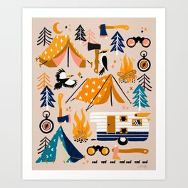 Camping Kit – Orange & Blue Art Print