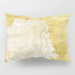 San Francisco Map Gold Pillow Sham