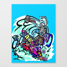 Wipe out! Gnarly surfing skeleton Canvas Print