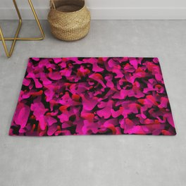 Chaotic bright on the dark of spots and splashes of pink colors. Rug